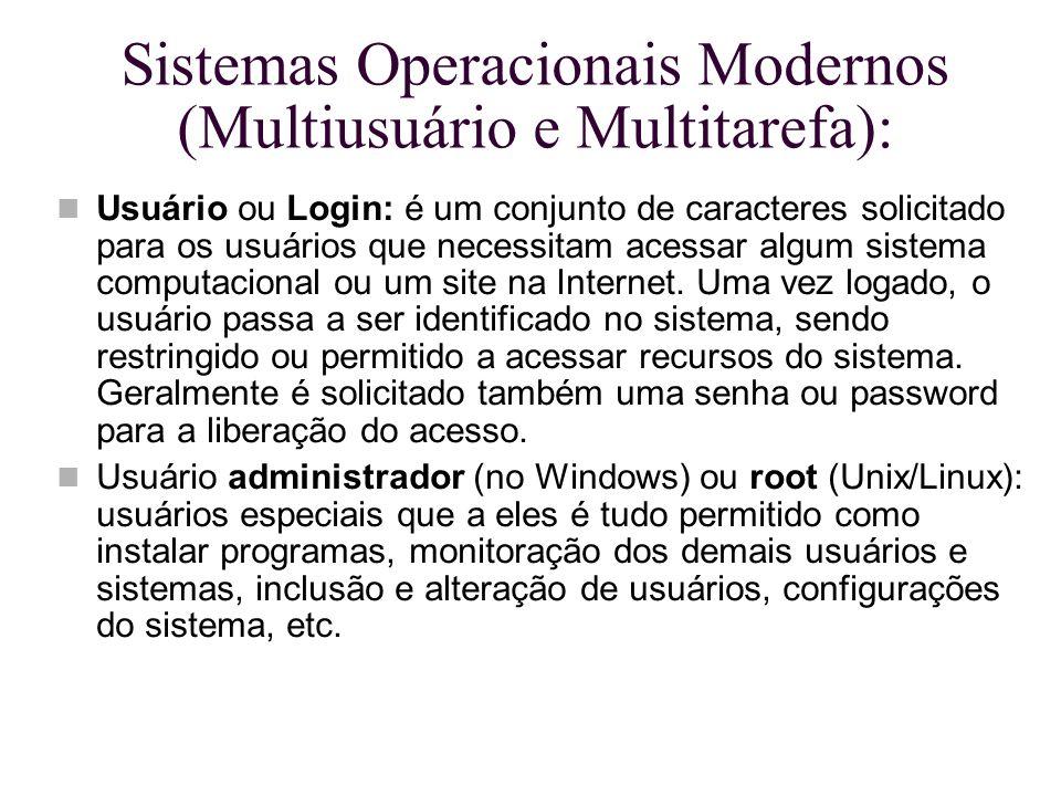 Sistemas Operacionais Modernos (Multiusuário e Multitarefa):