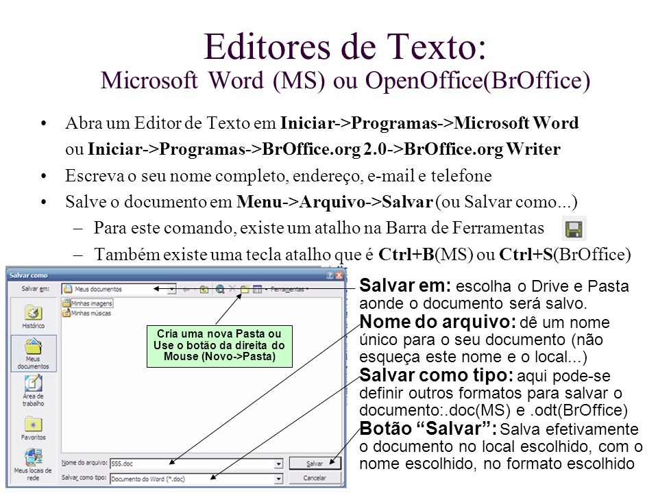 Editores de Texto: Microsoft Word (MS) ou OpenOffice(BrOffice)