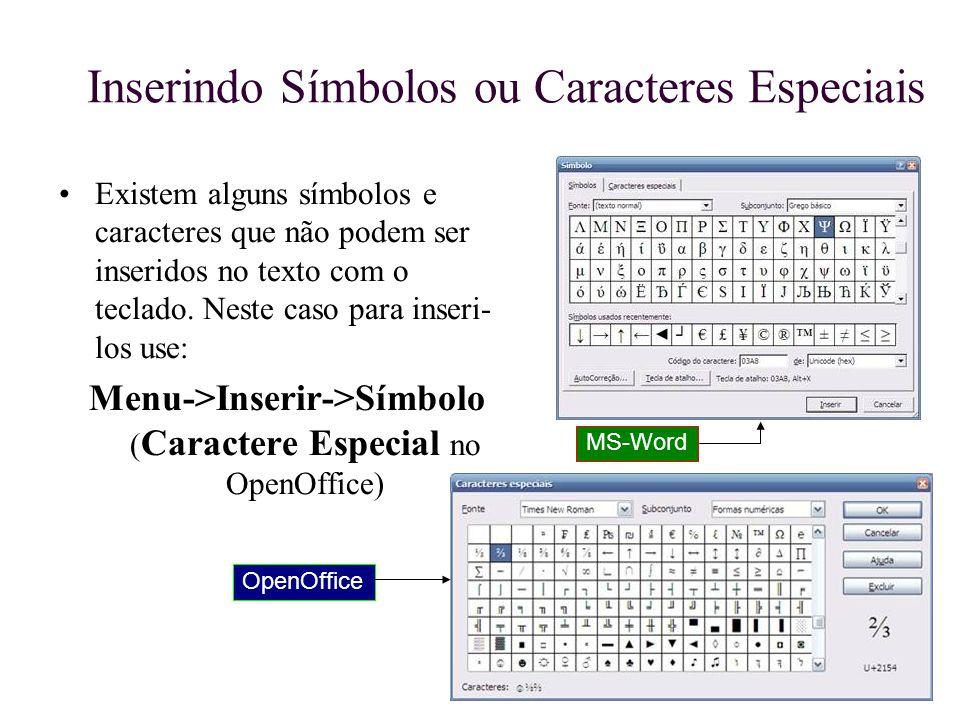 Inserindo Símbolos ou Caracteres Especiais
