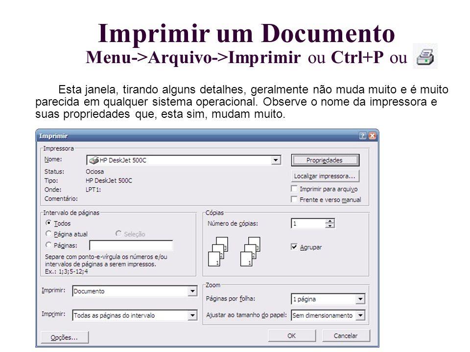 Imprimir um Documento Menu->Arquivo->Imprimir ou Ctrl+P ou
