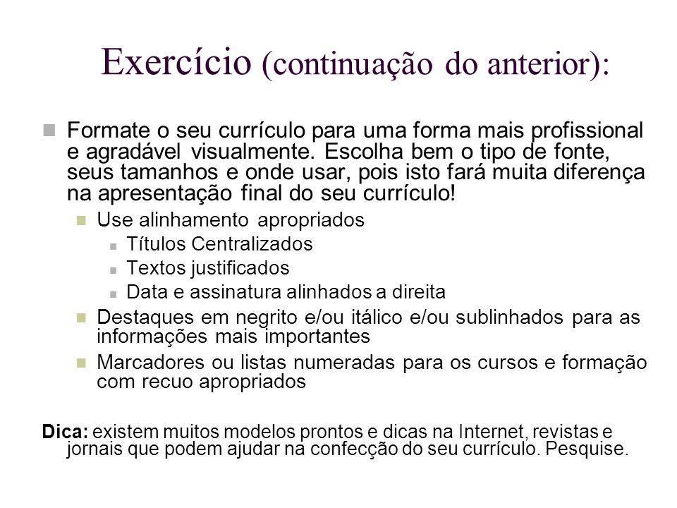 Exercício (continuação do anterior):
