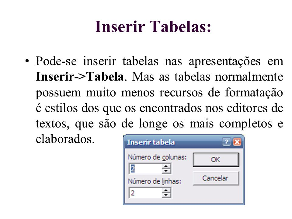 Inserir Tabelas: