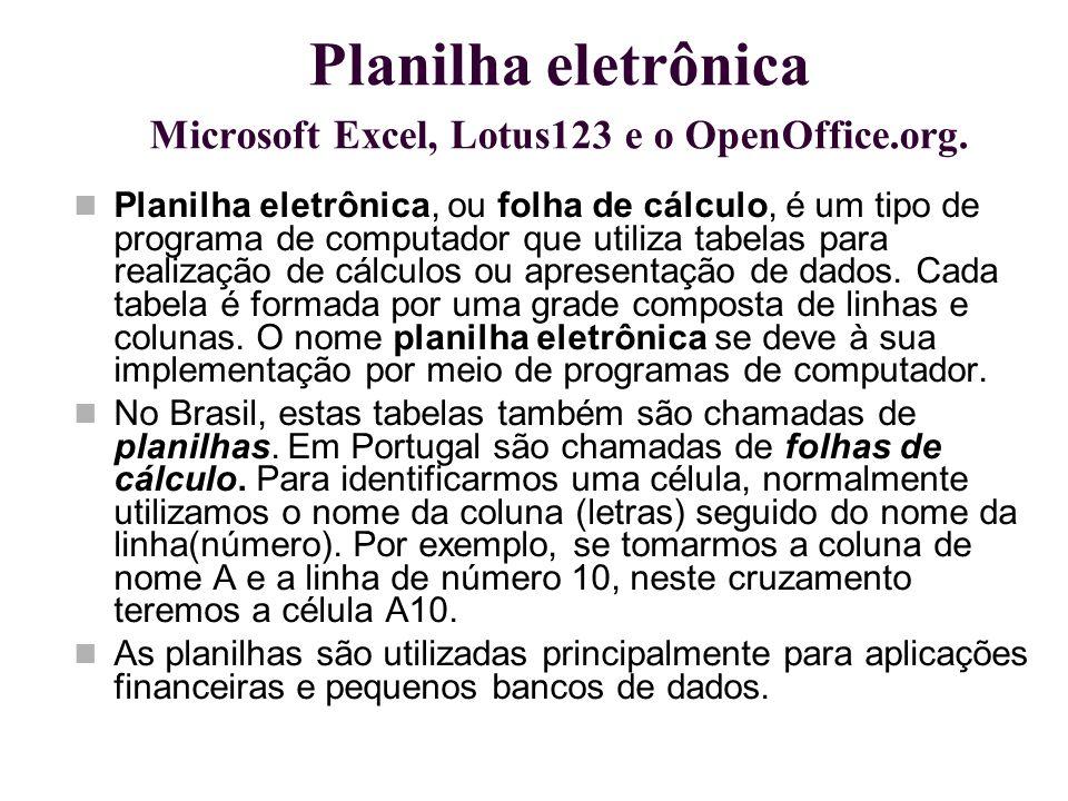 Planilha eletrônica Microsoft Excel, Lotus123 e o OpenOffice.org.