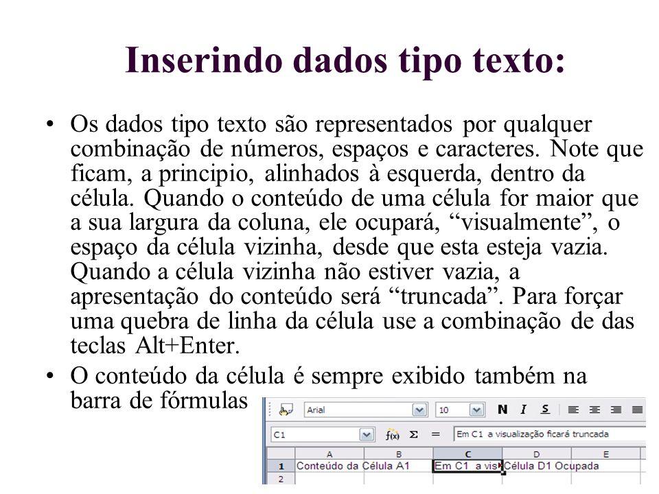 Inserindo dados tipo texto: