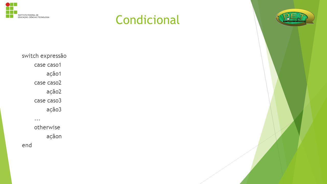 Condicional switch expressão case caso1 ação1 case caso2 ação2 case caso3 ação3 ...