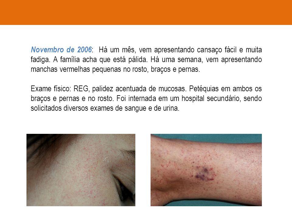 Novembro de 2006: Há um mês, vem apresentando cansaço fácil e muita fadiga. A família acha que está pálida. Há uma semana, vem apresentando manchas vermelhas pequenas no rosto, braços e pernas.