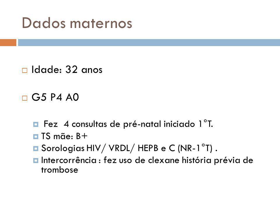 Dados maternos Idade: 32 anos G5 P4 A0