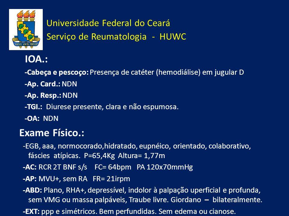 Universidade Federal do Ceará Serviço de Reumatologia - HUWC