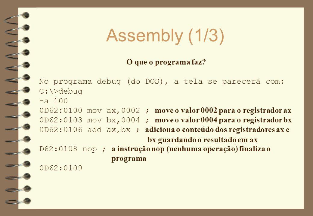 Assembly (1/3) O que o programa faz