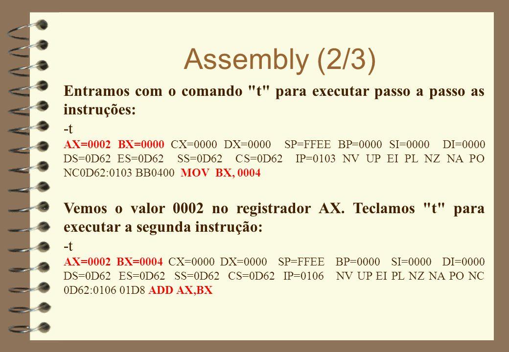 Assembly (2/3) Entramos com o comando t para executar passo a passo as instruções: -t.