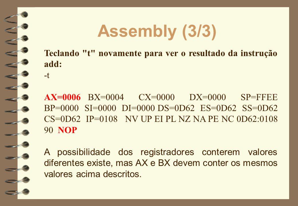 Assembly (3/3) Teclando t novamente para ver o resultado da instrução add: -t.