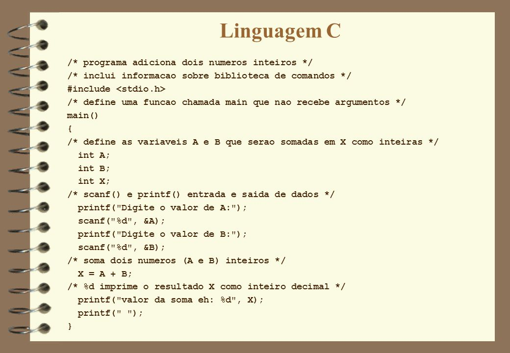 Linguagem C /* programa adiciona dois numeros inteiros */