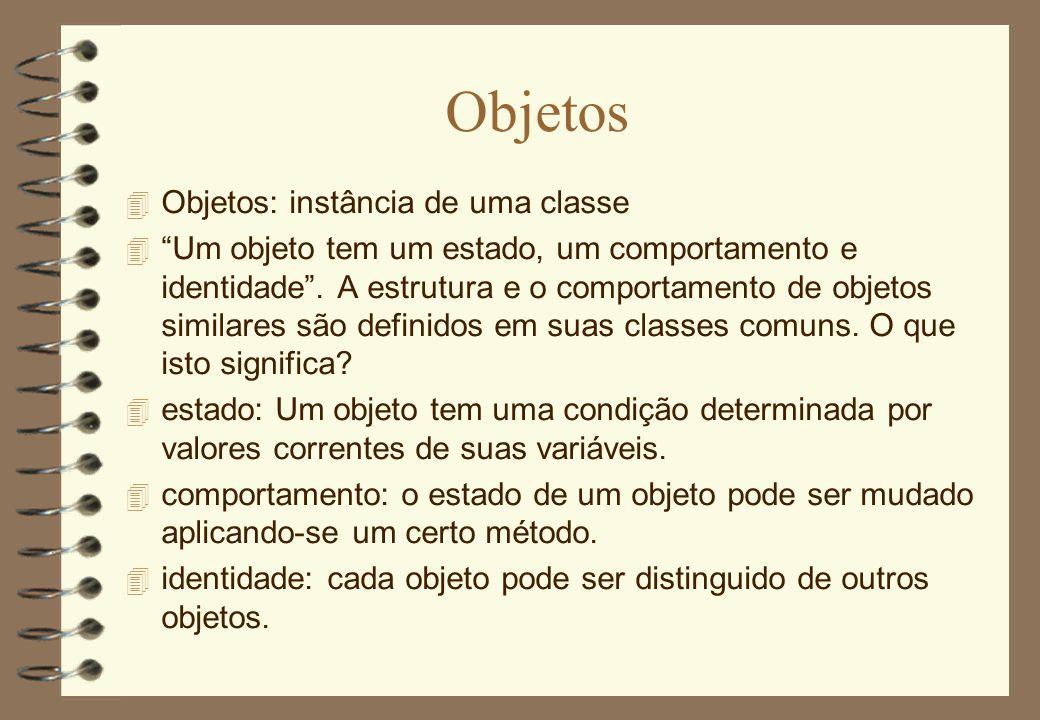 Objetos Objetos: instância de uma classe