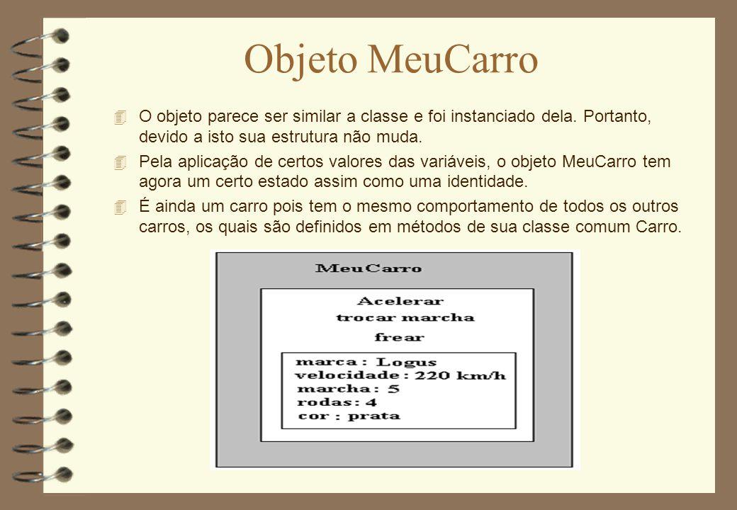 Objeto MeuCarro O objeto parece ser similar a classe e foi instanciado dela. Portanto, devido a isto sua estrutura não muda.