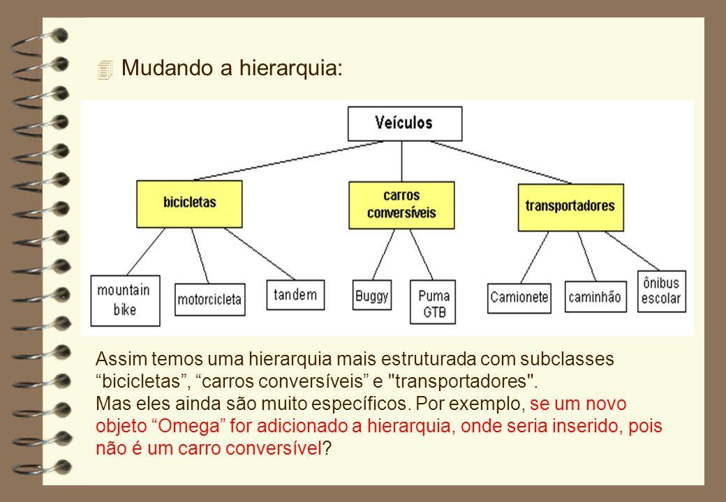 Mudando a hierarquia: Assim temos uma hierarquia mais estruturada com subclasses bicicletas , carros conversíveis e transportadores .