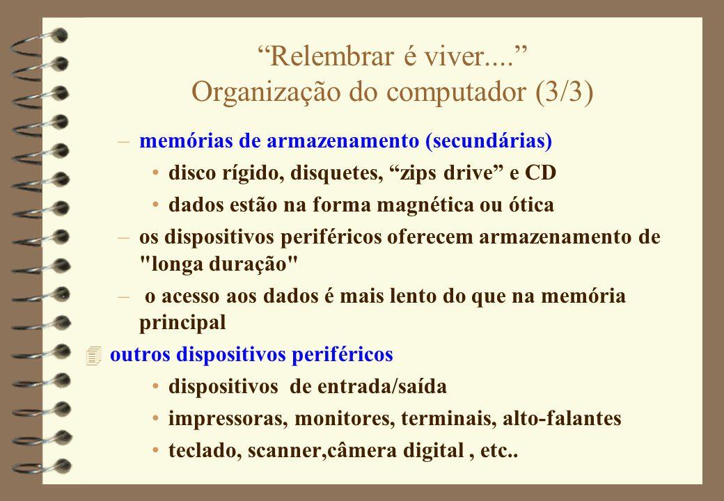 Relembrar é viver.... Organização do computador (3/3)