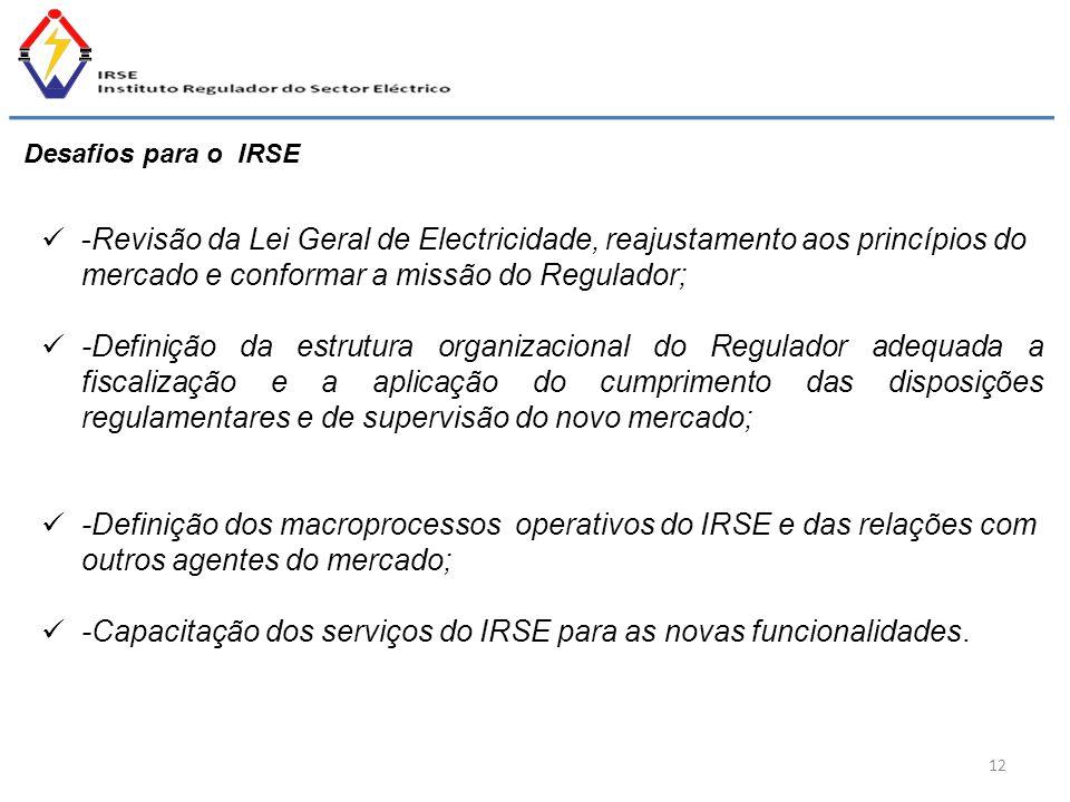 -Capacitação dos serviços do IRSE para as novas funcionalidades.