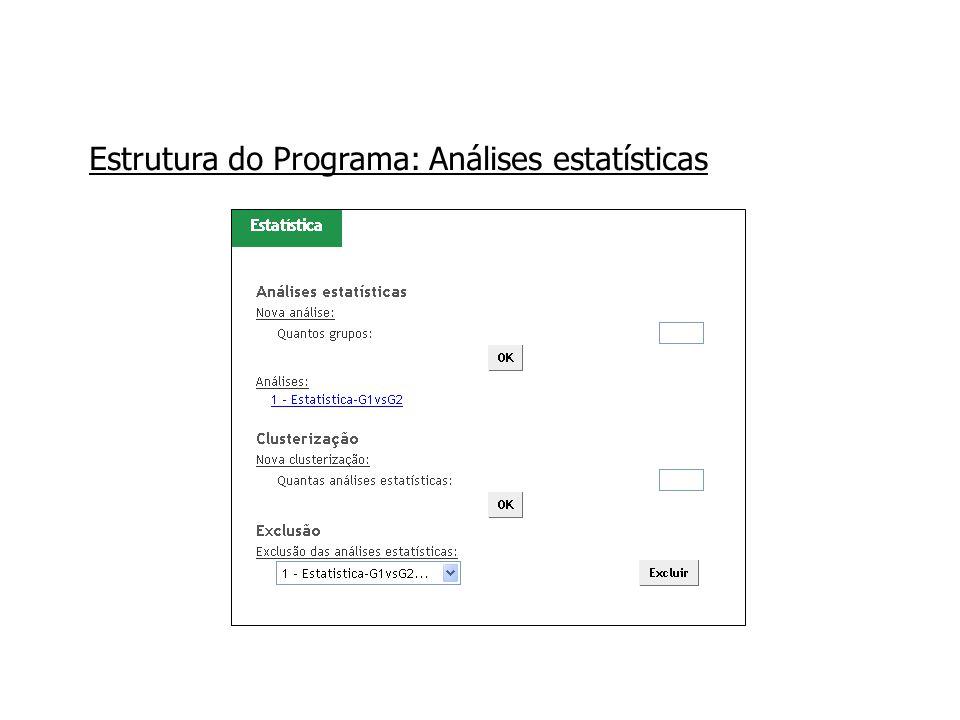Estrutura do Programa: Análises estatísticas