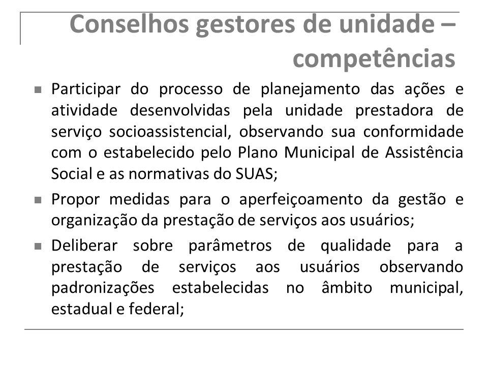 Conselhos gestores de unidade – competências