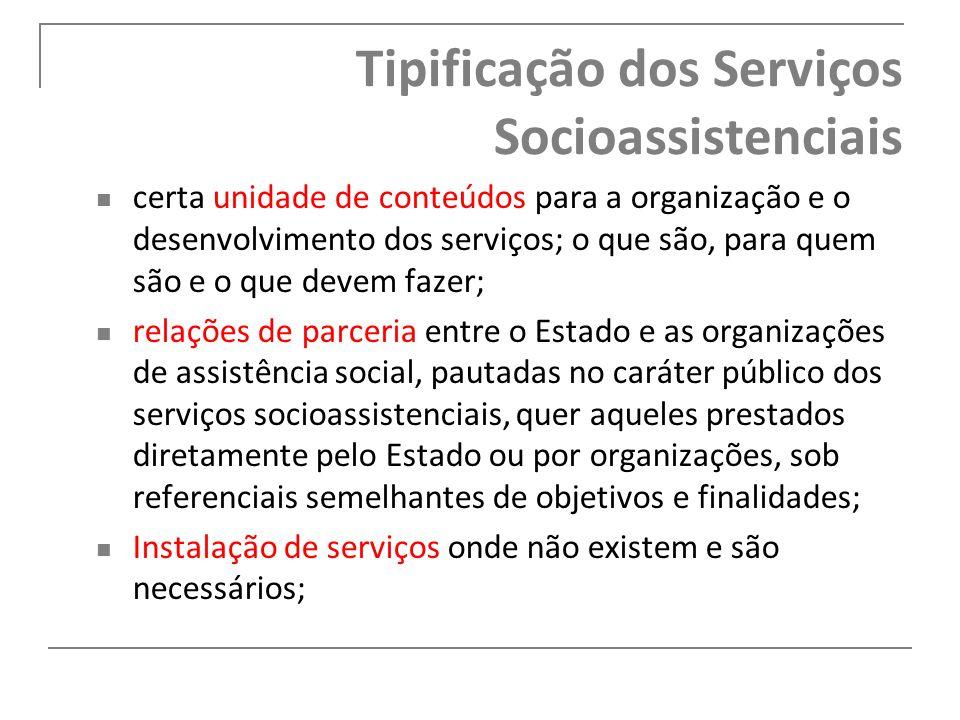Tipificação dos Serviços Socioassistenciais