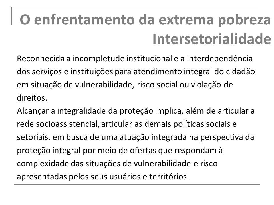 O enfrentamento da extrema pobreza Intersetorialidade
