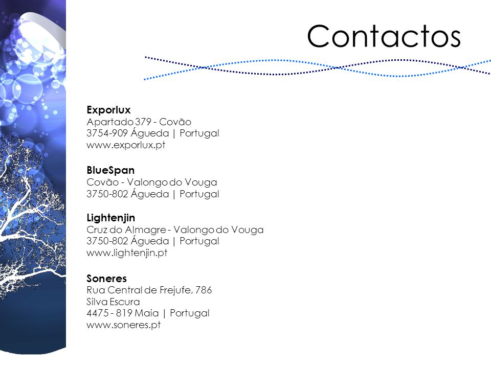Contactos Exporlux BlueSpan Lightenjin Soneres Apartado 379 - Covão