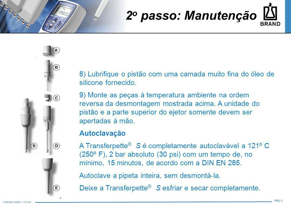 2o passo: Manutenção 8) Lubrifique o pistão com uma camada muito fina do óleo de silicone fornecido.