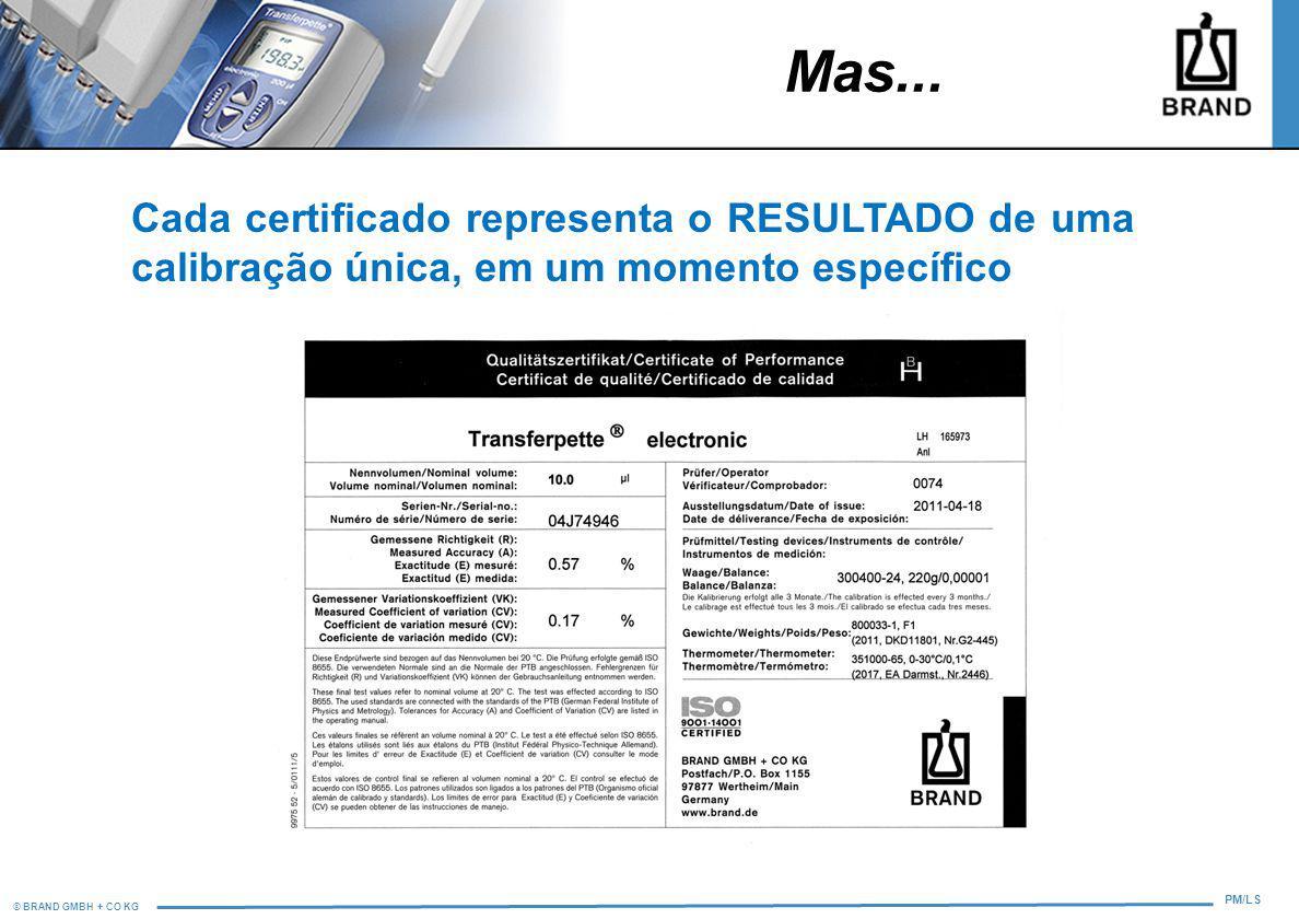 Mas... Cada certificado representa o RESULTADO de uma calibração única, em um momento específico