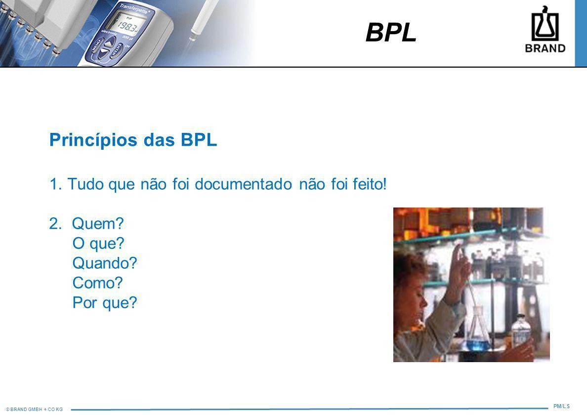 BPL Princípios das BPL 1. Tudo que não foi documentado não foi feito!
