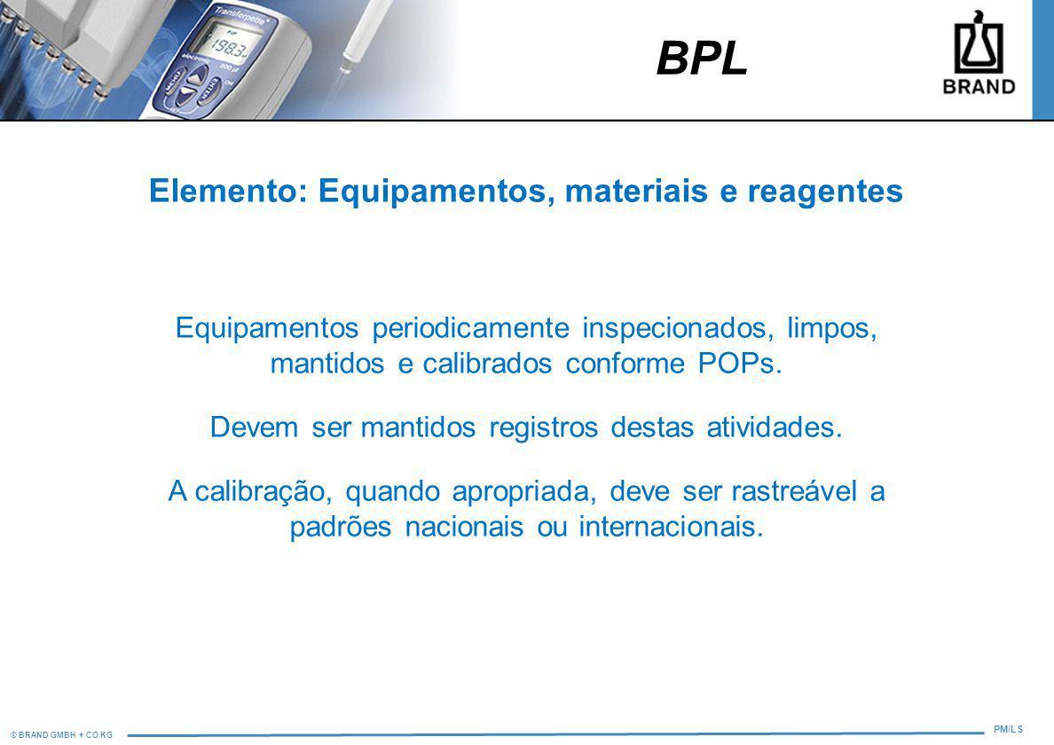 Elemento: Equipamentos, materiais e reagentes