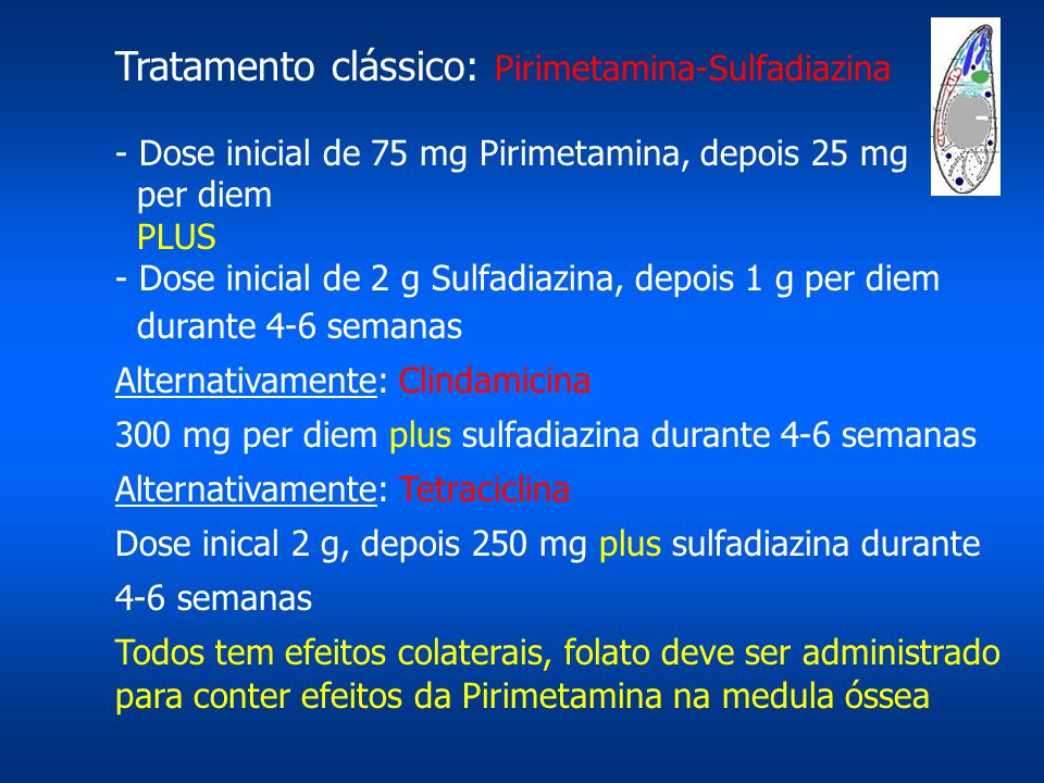 Tratamento clássico: Pirimetamina-Sulfadiazina