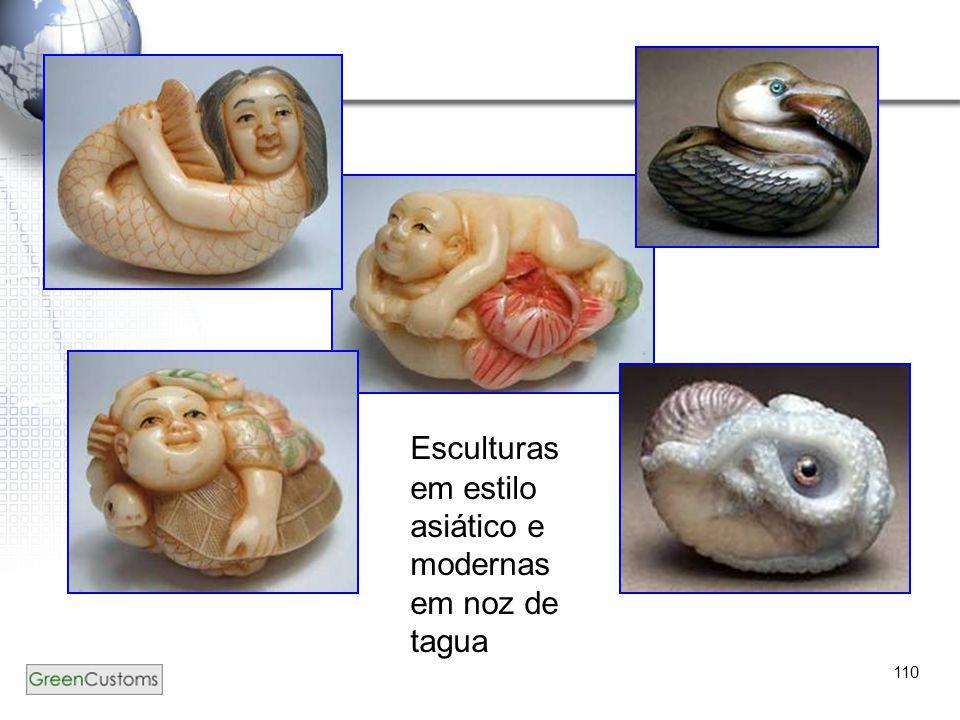 Esculturas em estilo asiático e modernas em noz de tagua