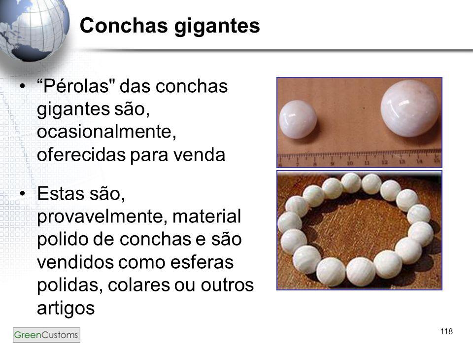 Conchas gigantes Pérolas das conchas gigantes são, ocasionalmente, oferecidas para venda.