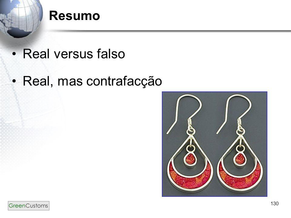 Resumo Real versus falso Real, mas contrafacção