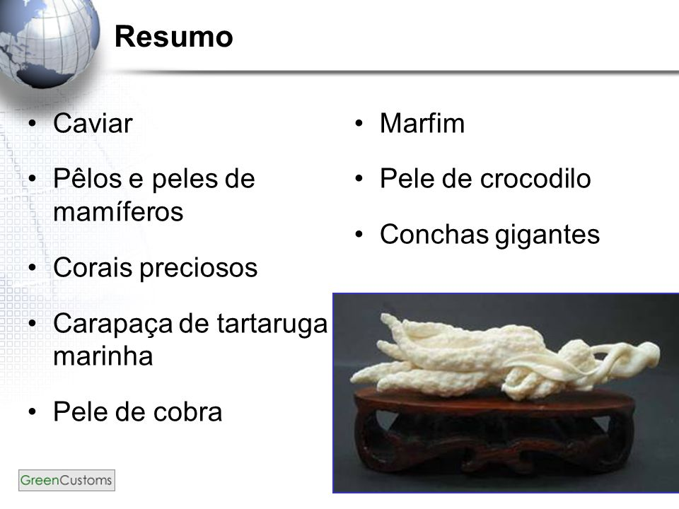Resumo Caviar Pêlos e peles de mamíferos Corais preciosos