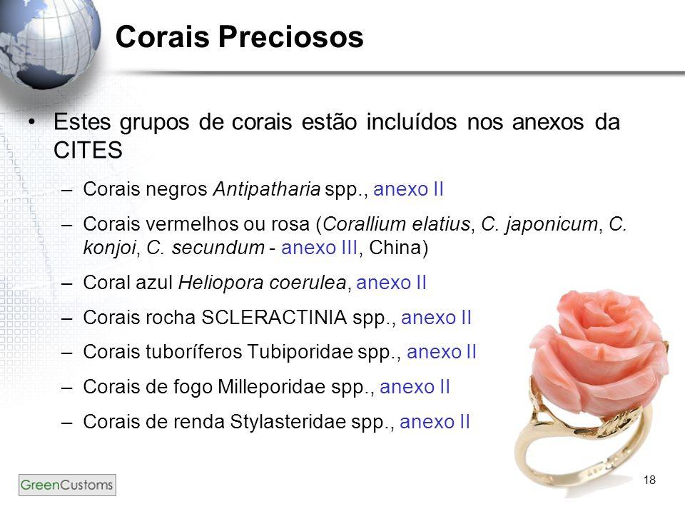 Corais Preciosos Estes grupos de corais estão incluídos nos anexos da CITES. Corais negros Antipatharia spp., anexo II.
