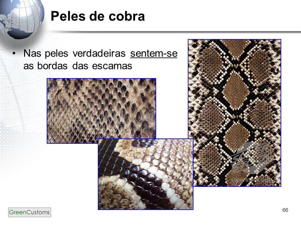 Peles de cobra Nas peles verdadeiras sentem-se as bordas das escamas
