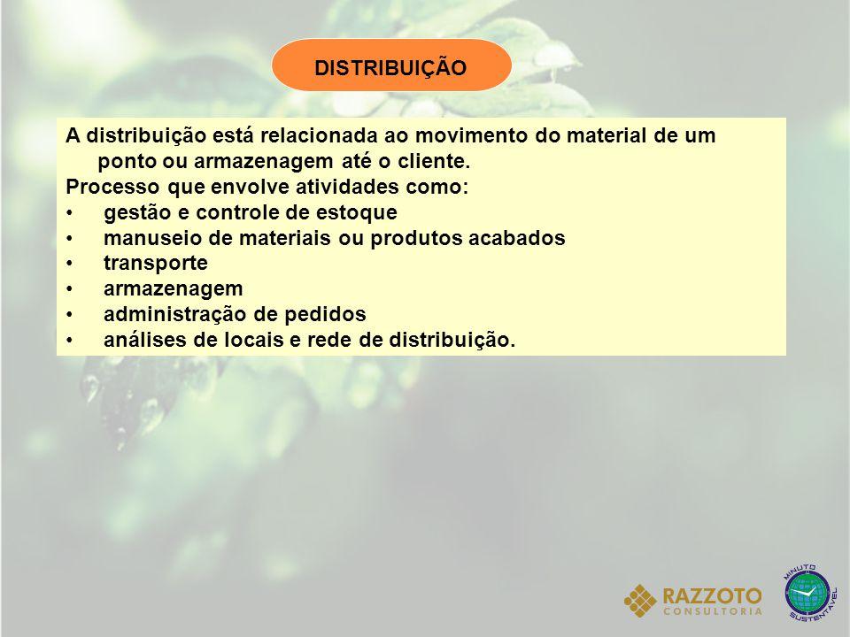 DISTRIBUIÇÃO A distribuição está relacionada ao movimento do material de um ponto ou armazenagem até o cliente.