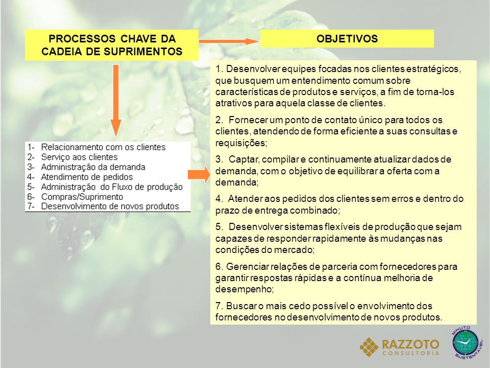 PROCESSOS CHAVE DA CADEIA DE SUPRIMENTOS