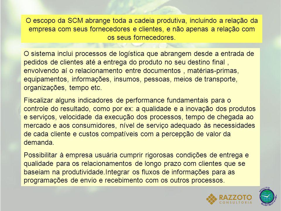 O escopo da SCM abrange toda a cadeia produtiva, incluindo a relação da empresa com seus fornecedores e clientes, e não apenas a relação com os seus fornecedores.
