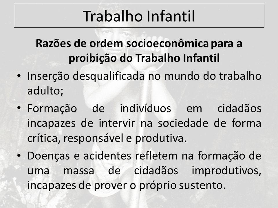 Razões de ordem socioeconômica para a proibição do Trabalho Infantil
