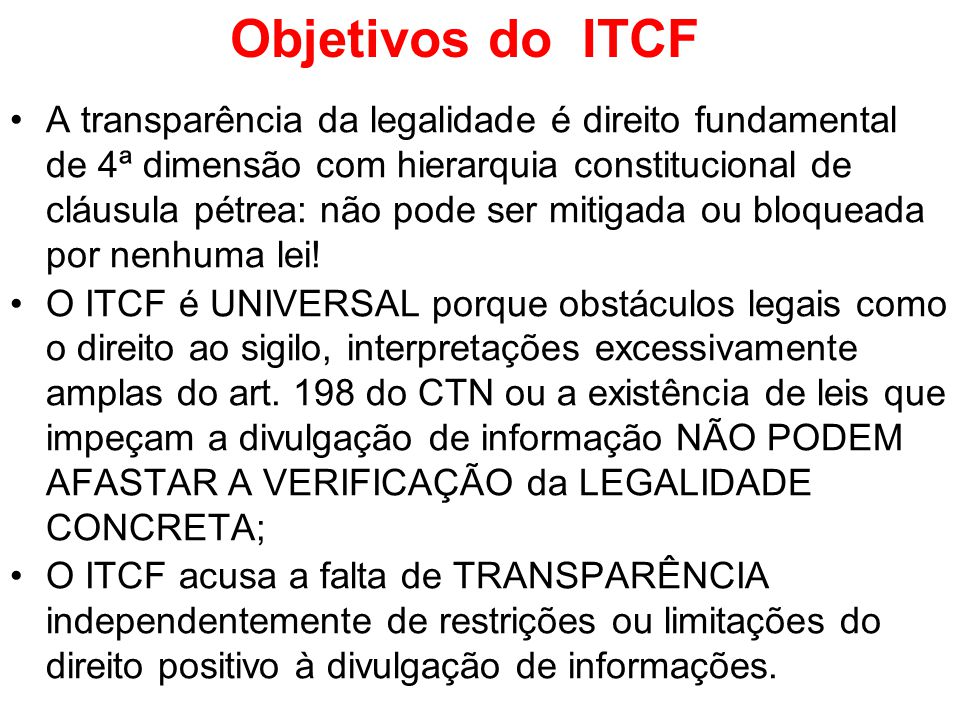 Objetivos do ITCF