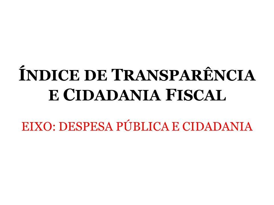 ÍNDICE DE TRANSPARÊNCIA E CIDADANIA FISCAL EIXO: DESPESA PÚBLICA E CIDADANIA