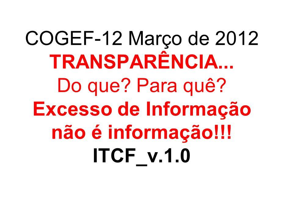COGEF-12 Março de 2012 TRANSPARÊNCIA. Do que. Para quê