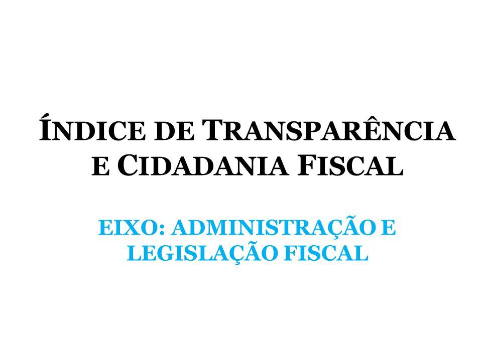 ÍNDICE DE TRANSPARÊNCIA E CIDADANIA FISCAL EIXO: ADMINISTRAÇÃO E LEGISLAÇÃO FISCAL