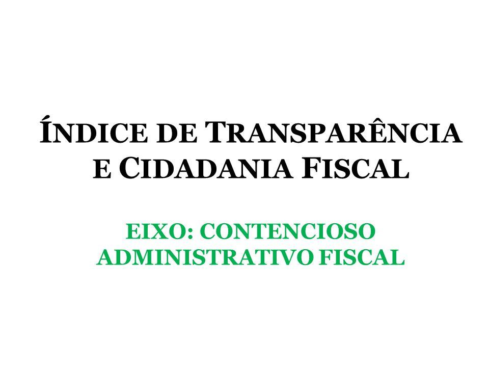 ÍNDICE DE TRANSPARÊNCIA E CIDADANIA FISCAL EIXO: CONTENCIOSO ADMINISTRATIVO FISCAL