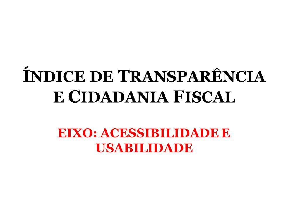 ÍNDICE DE TRANSPARÊNCIA E CIDADANIA FISCAL EIXO: ACESSIBILIDADE E USABILIDADE