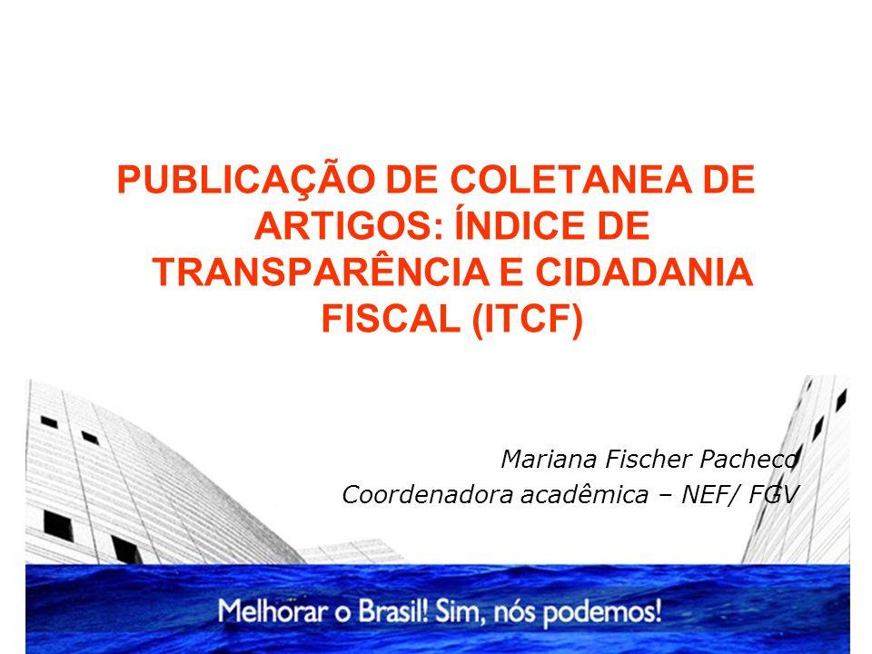 PUBLICAÇÃO DE COLETANEA DE ARTIGOS: ÍNDICE DE TRANSPARÊNCIA E CIDADANIA FISCAL (ITCF)