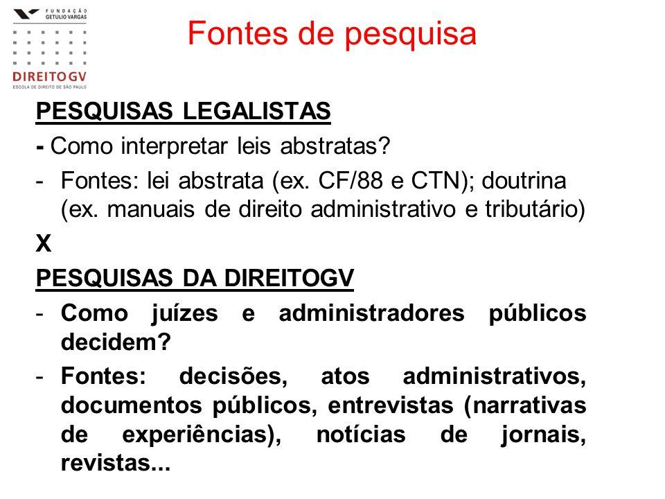 Fontes de pesquisa PESQUISAS LEGALISTAS