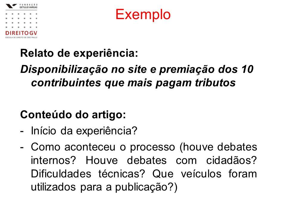 Exemplo Relato de experiência: